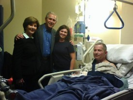 President & Mrs. Bush visiting the wounded at Ft. Hood.